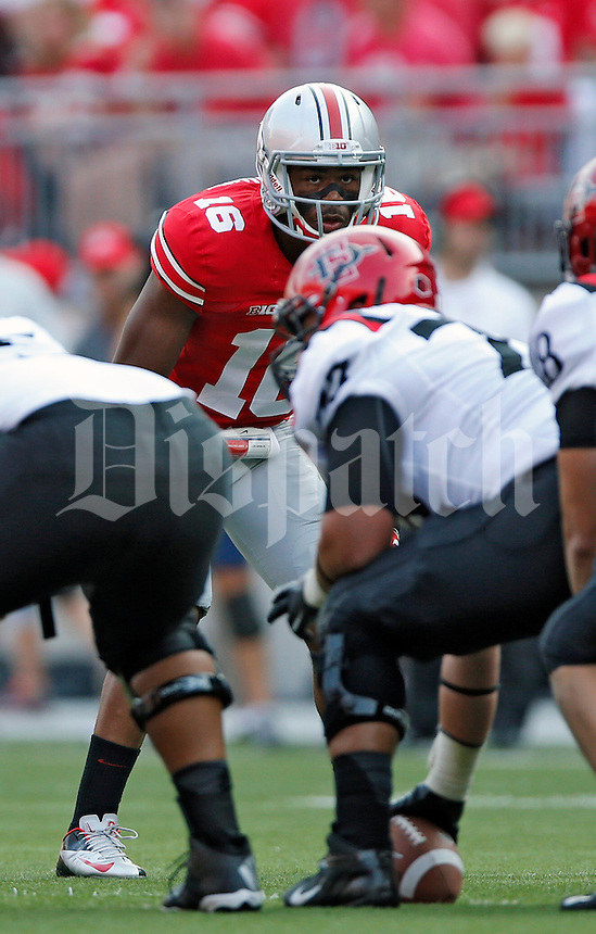 Ohio State Buckeyes defensive back Cam Burrows (16) against San Diego State Aztecs in their college football game at Ohio Stadium in Columbus on September 7, 2013.  (Dispatch photo by Kyle Robertson)