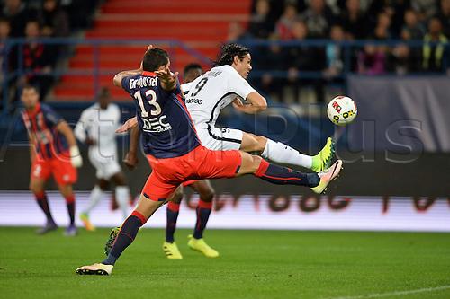 16.09.2016. Caen, France. French Leagie 1 football. Caen versus Paris St Germain.  Edinson Cavani (psg) challenged by Syam Ben Youssef (cae)