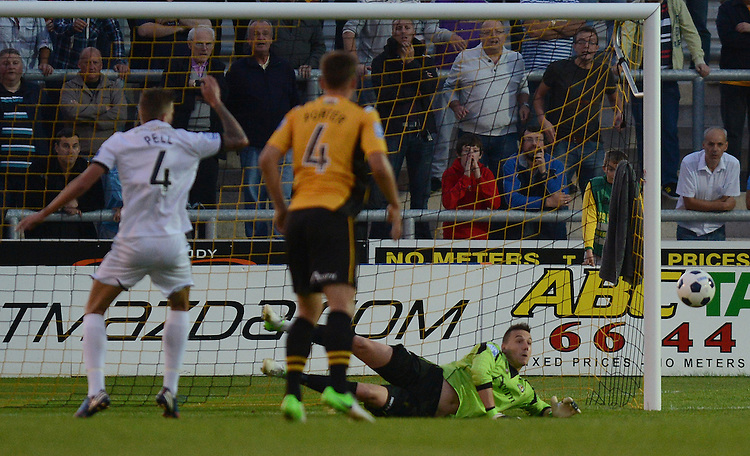 Newport County's Lenny Pidgeley saves a penalty from Hereford United's Harry Pell..Newport County V Hereford United - Blue square Premier division - Tuesday 28th August 2012 - Football  - Rodney Parade - Newport..