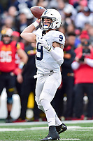 College Park, MD - NOV 11, 2017: Penn State Nittany Lions quarterback Trace McSorley (9) looks to throw down field during game between Maryland and Penn State at Capital One Field at Maryland Stadium in College Park, MD. (Photo by Phil Peters/Media Images International)