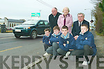 At risk: First year pupils of St Michael's College in Listowel who want the NRA to put a pedestrian crossing outside their school to prevent more accidents on the busy road. Pictured are Michael Keane, Eoin Kenny, Dara Leahy and Kenneth Kelliher with back row Eleanor Scanlan and Denis Stack (St Michael's Board of Management) and principal Johnny Mulvihill.