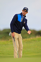 Akshay Bhatia (USA) on the 4th during the Foursomes at the Walker Cup, Royal Liverpool Golf CLub, Hoylake, Cheshire, England. 07/09/2019.<br /> Picture Thos Caffrey / Golffile.ie<br /> <br /> All photo usage must carry mandatory copyright credit (© Golffile | Thos Caffrey)