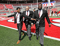 Ohio State Buckeyes wide receiver Braxton Miller (1), Ohio State Buckeyes offensive lineman Joel Hale (51) and Ohio State Buckeyes offensive lineman Chase Farris (57) arrive in Ohio Stadium for their game against Hawaii at Ohio Stadium on September 12, 2015.  (Dispatch photo by Kyle Robertson)