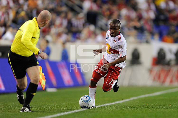Dane Richards (19) of the New York Red Bulls during the first half of a friendly between Santos FC and the New York Red Bulls at Red Bull Arena in Harrison, NJ, on March 20, 2010. The Red Bulls defeated Santos FC 3-1.