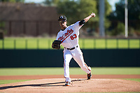 Glendale Desert Dogs starting pitcher Chris Lee (63), of the Baltimore Orioles organization, delivers a pitch during an Arizona Fall League game against the Mesa Solar Sox at Camelback Ranch on November 12, 2018 in Glendale, Arizona. Glendale defeated Mesa 4-2. (Zachary Lucy/Four Seam Images)