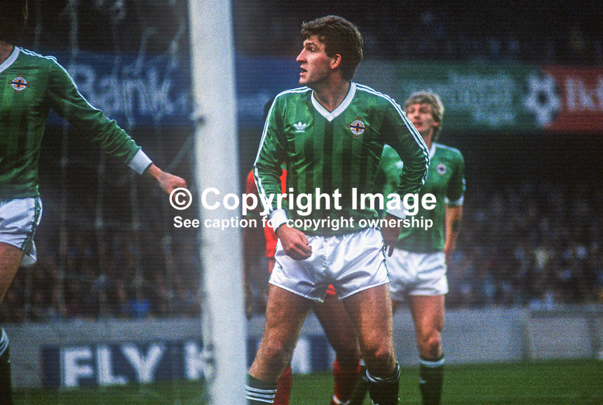 Norman Whiteside, footballer, Manchester United & N Ireland, April, 1986, 19860410NW2<br /> <br /> Copyright Image from Victor Patterson, 54 Dorchester Park, <br /> Belfast, UK, BT9 6RJ<br /> <br /> t1: +44 28 9066 1296 (from Rep of Ireland 048 9066 1296)<br /> t2: +44 28 9002 2446 (from Rep of Ireland 048 9002 2446)<br /> m: +44 7802 353836<br /> <br /> e1: victorpatterson@me.com<br /> e2: victorpatterson@gmail.com<br /> <br /> www.victorpatterson.com<br /> <br /> Please see my Terms and Conditions of Use at VICTORPATTERSON.COM. It is IMPORTANT that you familiarise yourself with them.<br /> <br /> Images used on the Internet must be visibly watermarked i.e. ©VICTORPATTERSON.COM within the body of the image and copyright metadata must not be deleted. Images used on the Internet have a size restriction of 4kbs and are chargeable at the then current NUJ rates.<br /> <br /> This image is only available for the use of the download recipient i.e. television station, newspaper, magazine, book publisher, etc, and must not be passed on to any third party. It is also downloaded on condition that each and every usage is notified within 7 days to victorpatterson@me.com<br /> <br /> The right of Victor Patterson to be identified as the author is asserted in accordance with The Copyright Designs And Patents Act (1988).