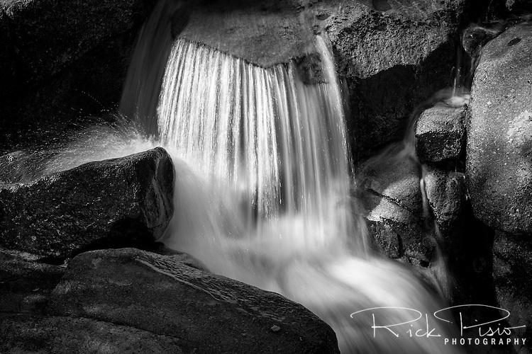 Water flows over a cascade on Leavitt Creek in Mono County, California.