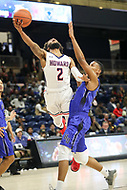 Washington, DC - December 22, 2018: Howard Bison guard RJ Cole (2) attempts a layup during the DC Hoops Fest between Hampton and Howard at  Entertainment and Sports Arena in Washington, DC.   (Photo by Elliott Brown/Media Images International)