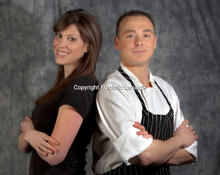 Michael P. Mollinger and Bree Conti of the Dish restaurant in Mill Valley poses for a portrait for photographer Frederic Larson in Mill Valley, CA...Fashion producer Claudia Knaack..Make-up artist Christina Flach.