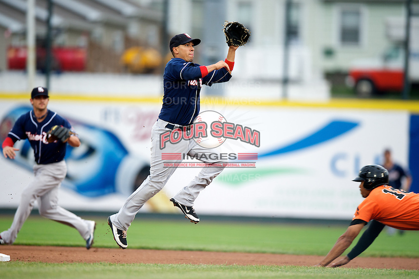 New Hampshire Fisher Cats shortstop Ryan Goins #2 during an Eastern League game against the Erie Seawolves at Jerry Uht Park on August 9, 2012 in Erie, Pennsylvania.  Erie defeated New Hampshire 6-0.  (Mike Janes/Four Seam Images)