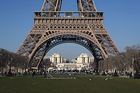 Eiffel Tower, March 31, 1889 (Universal Exhibition in celebration of the French Revolution), Alexandre Gustave Eiffel (1832-1923), 324 meters high, 10,100 tons, 18,038 pieces, 2,500,000 rivets, 1665 steps, Palais de Chaillot in the distance, Paris, France Picture by Manuel Cohen