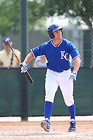 Tyler Chism #37 of the Kansas City Royals bats during a Minor League Spring Training Game against the Texas Rangers at the Kansas City Royals Spring Training Complex on March 20, 2014 in Surprise, Arizona. (Larry Goren/Four Seam Images)