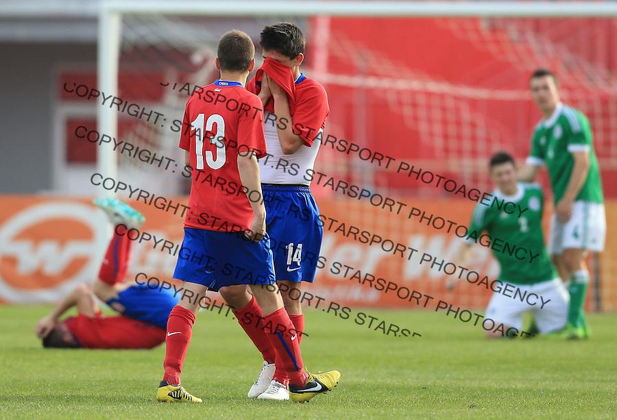 Fudbal UEFA U17 Elite round<br /> Srbija v Nemacka<br /> Nikola Mitrovic (R) and Mile Sarenac<br /> Novi Sad, 03.31.2014.<br /> Foto: Srdjan Stevanovic/Starsportphoto.com&copy;