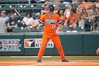 Oklahoma State Cowboys catcher Gage Green #17 at bat during the NCAA baseball game against the Texas Longhorns on April 26, 2014 at UFCU Disch–Falk Field in Austin, Texas. The Cowboys defeated the Longhorns 2-1. (Andrew Woolley/Four Seam Images)