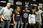 (L-R)Jesse Williams,Lolo Jones, Bernard Lagat, Kellie Wells and David Oliver, USATF Athletes poses for a pictures after a press conference in New York, United States. 27/01/2012. Photo by Kena Betancur / VIEWpress.