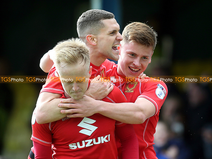 Harvey Barnes and Stuart O'Keefe celebrate MK Dons second goal scored by Ben Reeves the former Southend player during Southend United vs MK Dons, Sky Bet EFL League 1 Football at Roots Hall on 17th April 2017