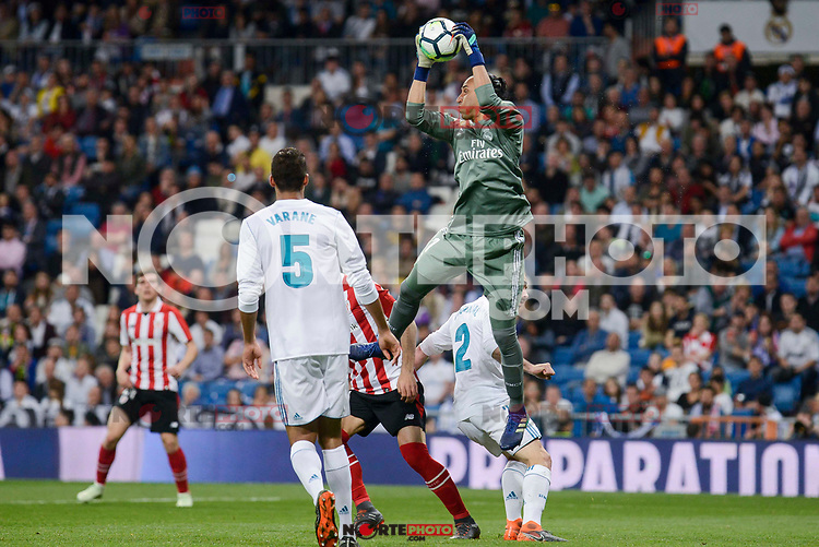 Real Madrid Raphael Varane and Keylor Navas during La Liga match between Real Madrid and Athletic Club at Santiago Bernabeu Stadium in Madrid. April 19, 2017. (ALTERPHOTOS/Borja B.Hojas) /NortePhoto.com