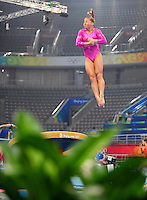 Aug. 7, 2008; Beijing, CHINA; Shawn Johnson (USA) performs on the vault during womens gymnastics training prior to the Olympics at the National Indoor Stadium. Mandatory Credit: Mark J. Rebilas-