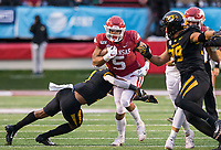Hawgs Illustrated/BEN GOFF <br /> Rakeem Boyd, Arkansas running back, tries to break the tackle of Ronnell Perkins, Missouri safety, in the fourth qaurter Saturday, Nov. 29, 2019, at War Memorial Stadium in Little Rock.
