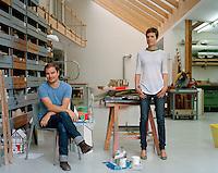 Portrait of industrial designer Stefan Diez and jewellery designer Saskia Diez in their studio