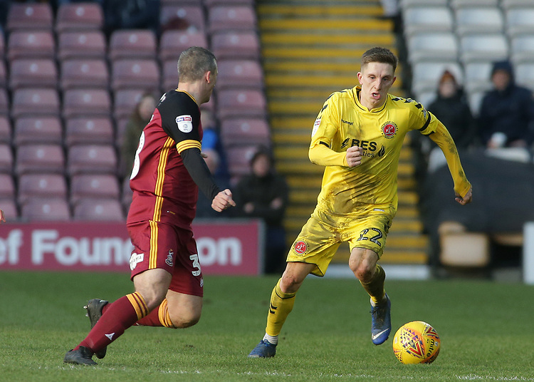Fleetwood Town's Ashley Hunter gets away from Bradford City's Paul Caddis<br /> <br /> Photographer David Shipman/CameraSport<br /> <br /> The EFL Sky Bet League One - Bradford City v Fleetwood Town - Saturday 9th February 2019 - Valley Parade - Bradford<br /> <br /> World Copyright &copy; 2019 CameraSport. All rights reserved. 43 Linden Ave. Countesthorpe. Leicester. England. LE8 5PG - Tel: +44 (0) 116 277 4147 - admin@camerasport.com - www.camerasport.com