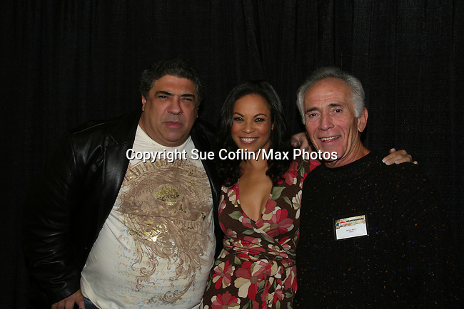 "General Hospital's and One Life To Live's Vincent Pastore (Sopranos) - One Life To Live's Daphnee Duplaix ""Rachel""- General Hospital's Bruce Weitz ""Anthony Zachara"" appear at Big Apple Comic Con for autographs and photos on October 16 (and 17 & 18), 2009 at Pier 94, New York City, New York. (Photo by Sue Coflin/Max Photos)"