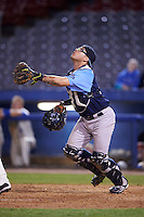 Trenton Thunder catcher Sebastian Valle (52) looks for a popup during the second game of a doubleheader against the Hartford Yard Goats on June 1, 2016 at Sen. Thomas J. Dodd Memorial Stadium in Norwich, Connecticut.  Trenton defeated Hartford 2-1.  (Mike Janes/Four Seam Images)