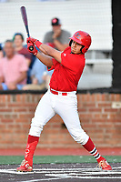 Johnson City Cardinals Aaron Antonini (53) swings at a pitch during game one of the Appalachian League Championship Series against the Burlington Royals at TVA Credit Union Ballpark on September 2, 2019 in Johnson City, Tennessee. The Royals defeated the Cardinals 9-2 to take the series lead 1-0. (Tony Farlow/Four Seam Images)