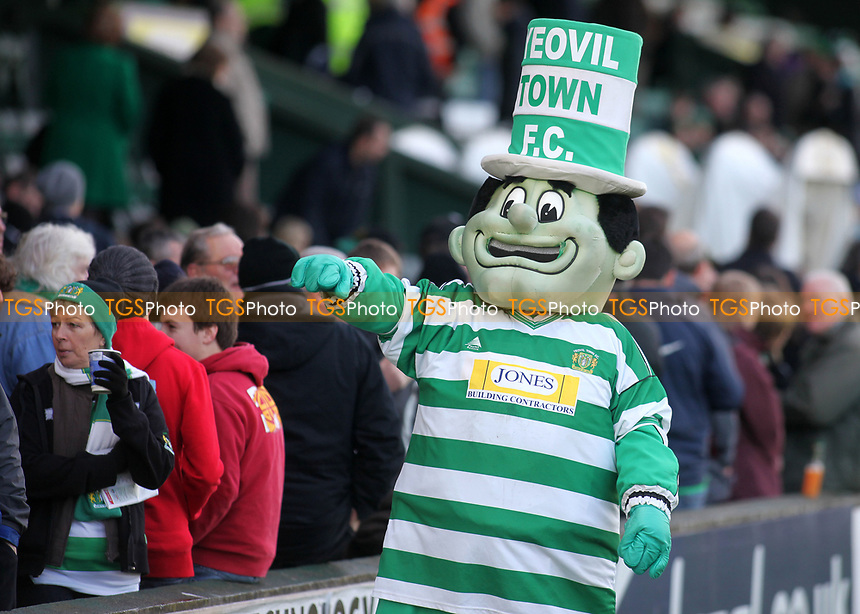 The Jolly Green Giant, Yeovil Town's mascot acknowledges the home fans ahead of kick-off during Yeovil Town vs Wycombe Wanderers, Coca Cola League Division One Football at Huish Park on 26th December 2009