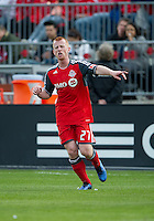23 April 2011: Toronto FC defender Richard Eckersley #27 in action during a game between the Columbus Crew and the Toronto FC at BMO Field in Toronto, Ontario Canada..The game ended in a 1-1 draw.