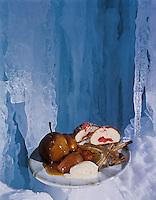 Europe/France/73/Savoie/Courchevel: Poire pochée au miel de montagne caramelisé, glace à la canelle recette de Jean-Pierre Jacob du restaurant: Le Bateau Ivre