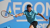 June 16th 2017, Nottingham, England; ATP Aegon Nottingham Open Tennis Tournament day 5;  Dudi Sela of Israel stretches for a forehand in his match against Lloyd Glasspool of Great Britain on centre court