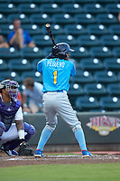 Yeiler Peguero (1) of the Myrtle Beach Pelicans at bat against the Winston-Salem Dash at BB&T Ballpark on August 6, 2018 in Winston-Salem, North Carolina. The Dash defeated the Pelicans 6-3. (Brian Westerholt/Four Seam Images)