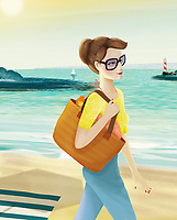 Woman wearing sunglasses walking at the beach ExclusiveImage