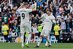 Real Madrid's Karim Benzema (L) and Brahim Diaz (R) celebrate goal during La Liga match between Real Madrid and Athletic Club de Bilbao at Santiago Bernabeu Stadium in Madrid, Spain. April 21, 2019. (ALTERPHOTOS/A. Perez Meca)