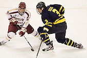 Quinn Smith (BC - 27), Kyle Bigos (Merrimack - 3) - The Boston College Eagles defeated the Merrimack College Warriors 4-2 to give Head Coach Jerry York his 900th collegiate win on Friday, February 17, 2012, at Kelley Rink at Conte Forum in Chestnut Hill, Massachusetts.