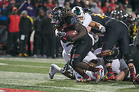 College Park, MD - October 22, 2016: Maryland Terrapins running back Kenneth Goins Jr. (30) scores a touchdown during game between Michigan St. and Maryland at  Capital One Field at Maryland Stadium in College Park, MD.  (Photo by Elliott Brown/Media Images International)