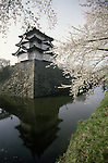 The historic landmark of the Hirosaki Castle provides a backdrop of many pictures at the Cherry Blossom Festival held in Oyo Park near Hirosaki Castle in Aomori Prefecture in Northern Honshu, Japan. Over 1500 cherry trees come into bloom from late April to Early May. (Jim Bryant Photo)...