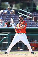 Mike Fish (4) of the Inland Empire 66ers bats during a game against the Stockton Ports at The Hanger on April 11, 2015 in Lancaster, California. San Jose defeated Lancaster, 8-3. (Larry Goren/Four Seam Images)