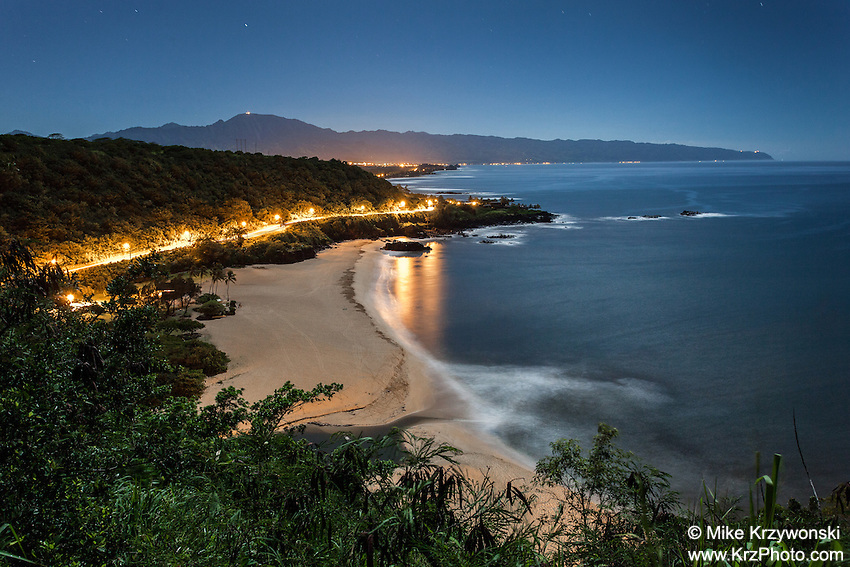 Aerial view of Waimea Bay at night, North Shore, Oahu