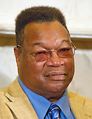 Former World Heavyweight Champion Larry Holmes listens during remarks at a press conference to discuss the observational study on the brain health of active and retired professional fighters on Capitol Hill in Washington, DC on Tuesday, April 26, 2016.  The study, led by researchers from the Cleveland Clinic, is  designed to better identify, prevent and treat Chronic Traumatic Encephalopathy (CTE.)<br /> Credit: Ron Sachs / CNP