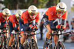 Bahrain-Merida in action during Stage 1 of La Vuelta 2019, a team time trial running 13.4km from Salinas de Torrevieja to Torrevieja, Spain. 24th August 2019.<br /> Picture: Luis Angel Gomez/Photogomezsport | Cyclefile<br /> <br /> All photos usage must carry mandatory copyright credit (© Cyclefile | Luis Angel Gomez/Photogomezsport)