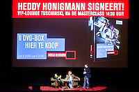 Amsterdam, 21-11-2014, IDFA, International Documentary Filmfestival Amsterdam. De masterclass van Heddy Honigmann. Motto Try A Little Tenderness. Aan de hand van fragmenten uit haar top-10 en uit haar eigen films praat ze in de grote zaal van Tuschinski met journalist Hans Beerekamp. Foto Nichon Glerum