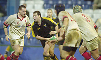 London. Great Britain, Martyn Wood look's to pass the ball, during the Heineken Cup. London Wasps v Ulster Match, played at Loftus Road, West London. 06/01/2002.  [Mandatory Credit;  Peter Spurrier/Intersport Images]..