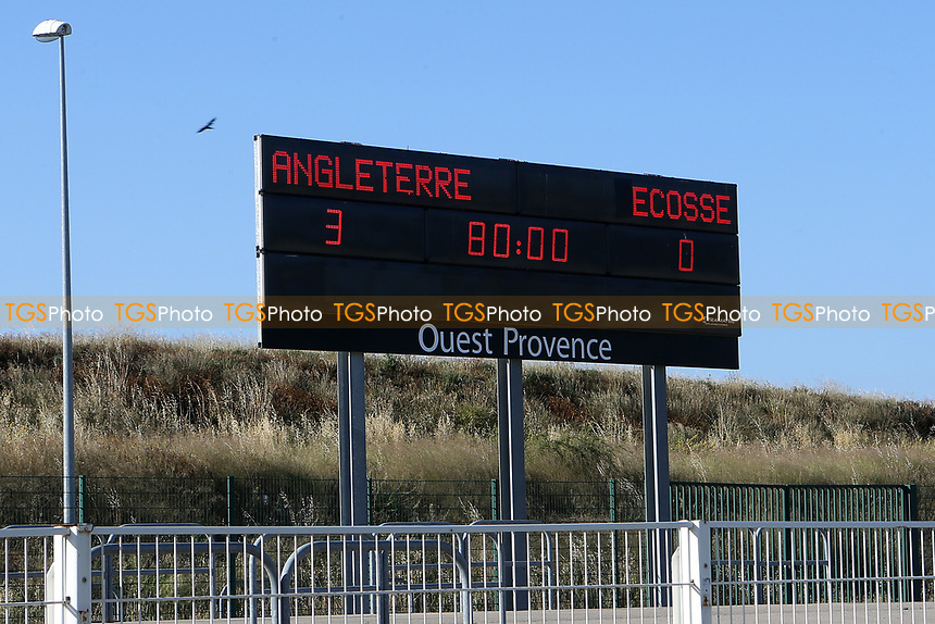 The scoreboard at Stade Parsemain shows the final score during England Under-18 vs Scotland Under-20, Toulon Tournament Semi-Final Football at Stade Parsemain on 8th June 2017