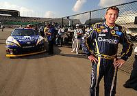 Sept. 26, 2008; Kansas City, KS, USA; Nascar Sprint Cup Series driver Michael McDowell during qualifying for the Camping World RV 400 at Kansas Speedway. Mandatory Credit: Mark J. Rebilas-