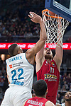 Real Madrid Walter Tavares and Olympiacos Piraeus Nikola Milutinov during Turkish Airlines Euroleague match between Real Madrid and Olympiacos Piraeus at Wizink Center in Madrid , Spain. February 09, 2018. (ALTERPHOTOS/Borja B.Hojas)