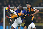 Romelu Lukaku of Everton tussles with Curtis Davies of Hull City during the English Premier League match at the KCOM Stadium, Kingston Upon Hull. Picture date: December 30th, 2016. Pic Simon Bellis/Sportimage