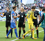 10.09.2017, OLympiastadion, Berlin, GER, 1.FBL, Hertha BSC VS. SV Werder Bremen, im Bild <br /> Schiedsrichterin  Bibiane Steinhaus<br /> Sebastian Langkamp (Hertha BSC Berlin #15)<br /> <br /> <br />       <br /> Foto &copy; nordphoto / Engler