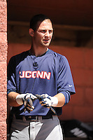 University of Connecticut Huskies infielder Tom Verdi (12) during game against the Rutgers University Scarlet Knights at Bainton Field on May 3, 2013 in Piscataway, New Jersey. Connecticut defeated Rutgers 3-1.      . (Tomasso DeRosa/ Four Seam Images)